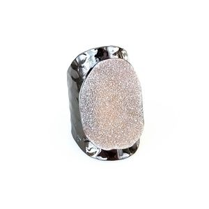 Shimmering agate druzy statement ring